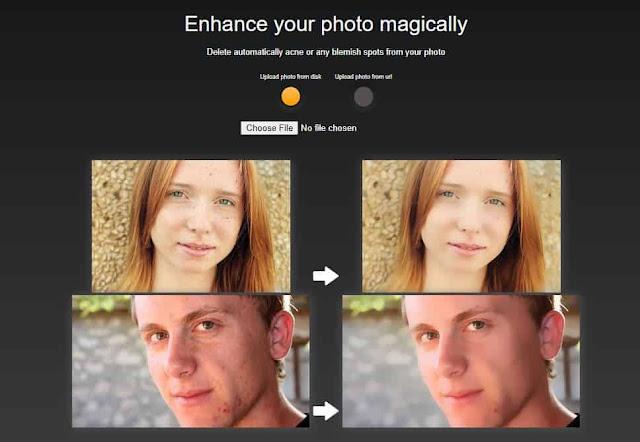 موقع improve photo لأزالة حب الشباب من الصور