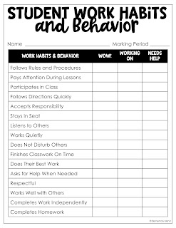 Use this as a student self-assessment to see how students view their performance in class.  They are often more honest than you would be if you filled one out as the teacher!