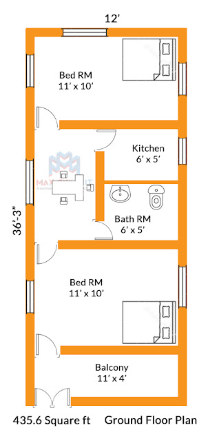 2bhk small house plan design