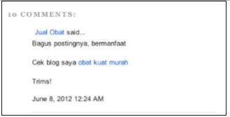 Contoh Spam komentar
