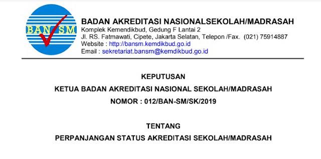 Masa Akriditasi Habis  Segera Download SK Perpanjangan Akreditasi Sekolah/Madrasah 2019