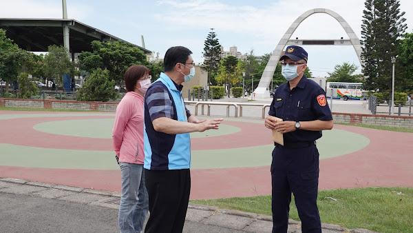 許志宏赴鹿港體育場宣導防疫 保持社交距離勿群聚飲食