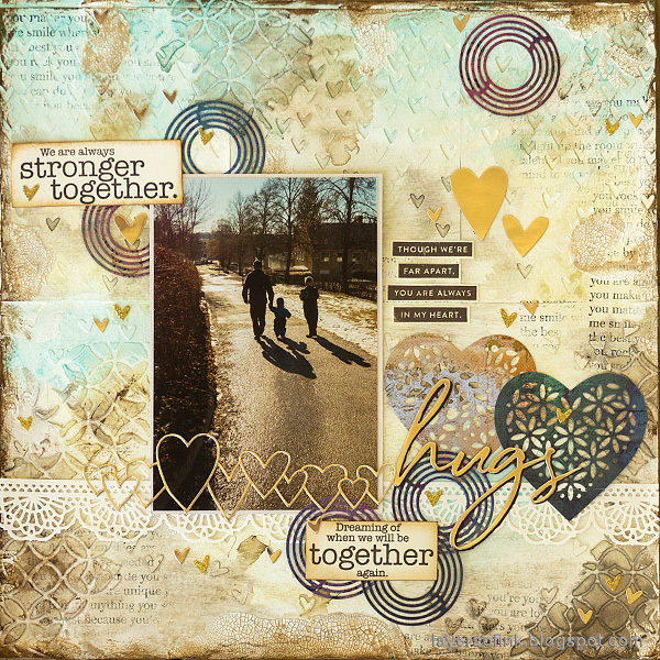 Layers of ink - Hearts Mixed Media Scrapbooking Tutorial by Anna-Karin Evaldsson.