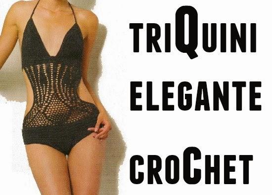 Triquini elegante negro crochet