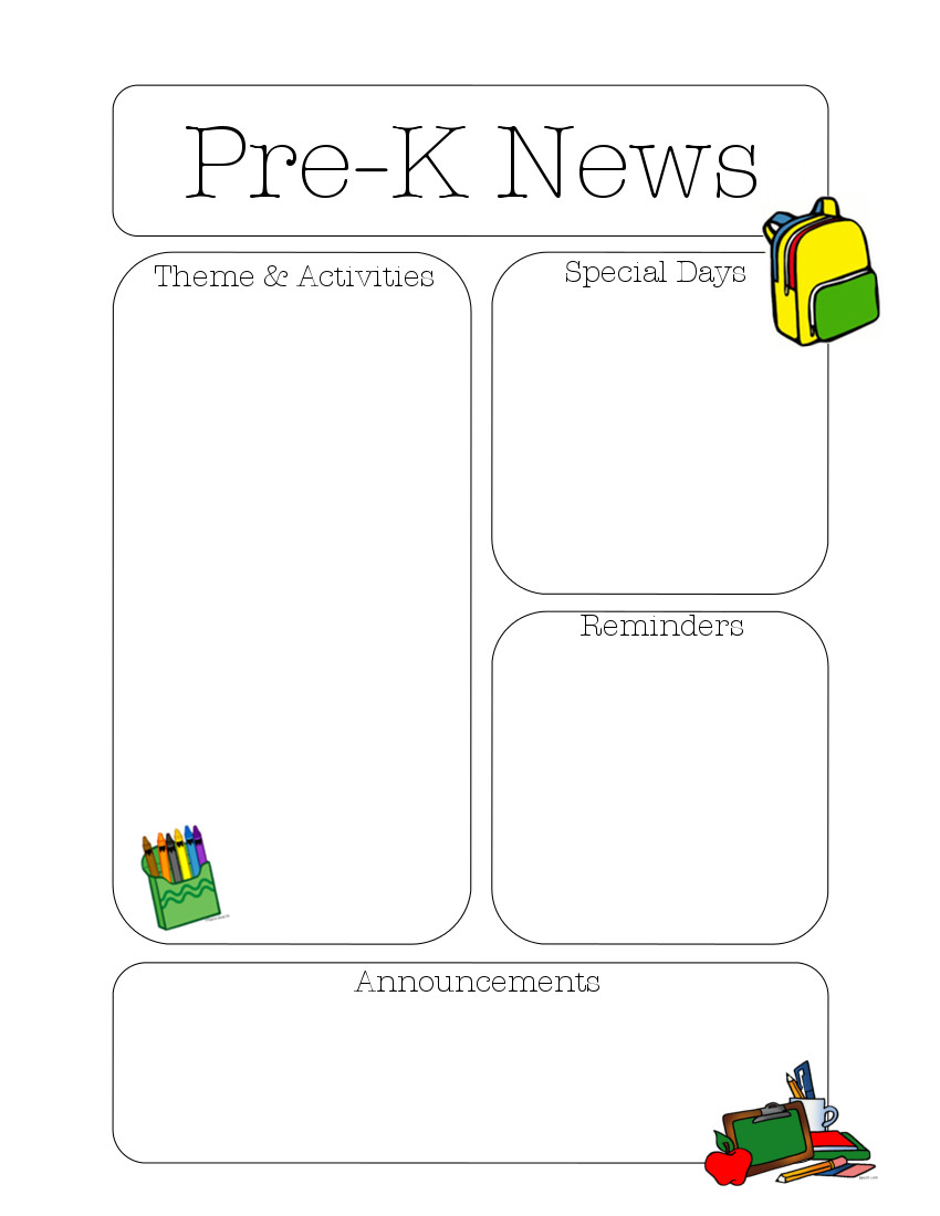prekaugust January Pre Newsletter Template Editable on editable business newsletters, brochure template, scrapbook cover page template, branding template, invitation letter template, flyer template, editable preschool newsletters, editable classroom newsletters, parent contact log template,