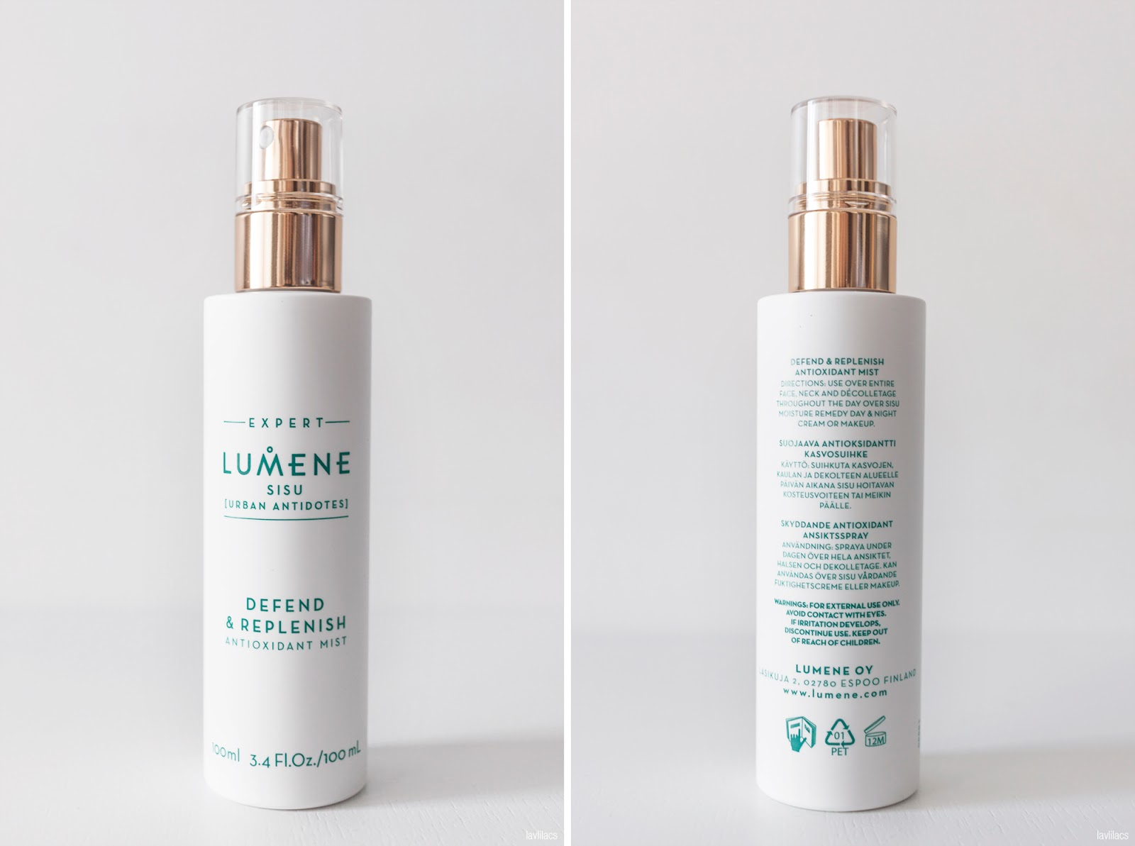 lavlilacs LUMENE Sisu Urban Antidotes Defend & Replenish Antioxidant Mist bottle back and front