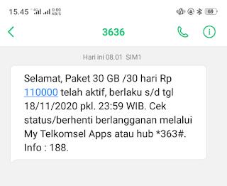 cara aktifkan paket internet 30gb telkomsel
