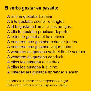 Verbo gustar em espanhol, Espanhol, Curso de Espanhol, Dicas de espanhol, Verbos, Conjugação Gustar, Espanhol Português, Espanhol para brasileiros