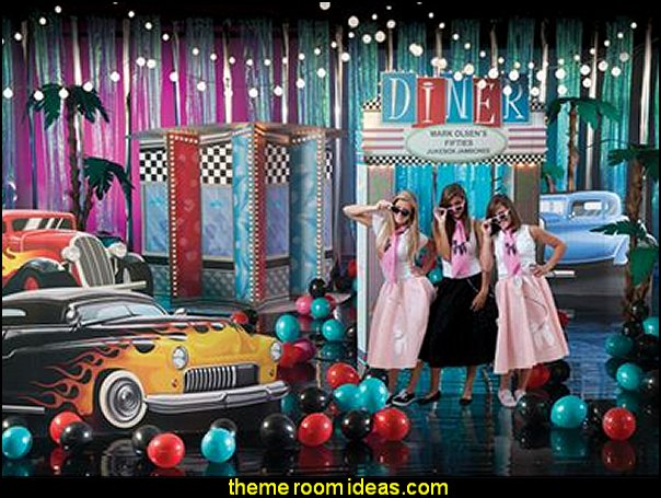 Fabulous Fifties Theme Kit  Fifties Diner Kit  50s party ideas - 50s party decorations - 1950s Theme Party - 1950's Rock and Roll Themed Party Supplies - 50s Rock and Roll Theme Party - 50s party decorations - 50s party props - 50s diner party  50s Costumes