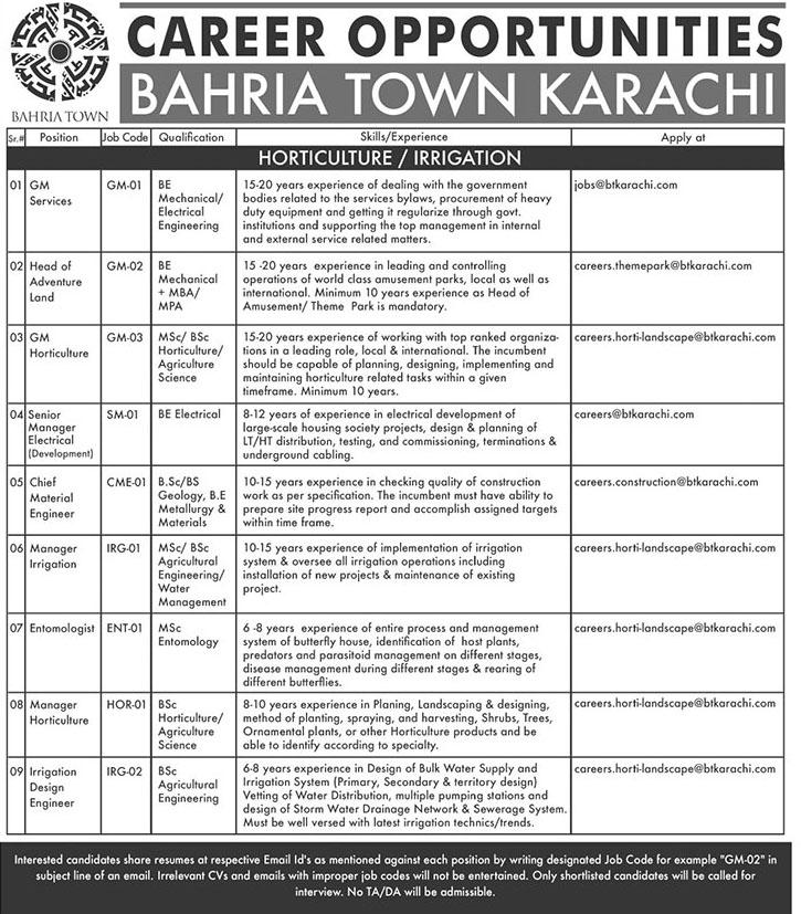 Private Jobs in Bahria Town Pvt Limited Karachi 2019
