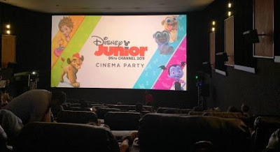 "Inside cinema with screen: ""Disney Junior Cinema Party"""