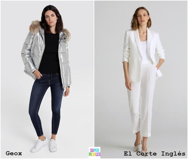 abrigo metalizado + blazer blanca