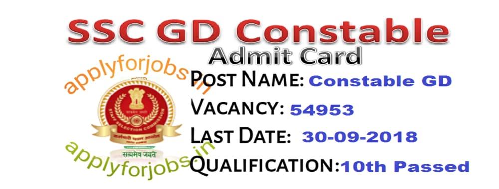 SSC Constable GD Admit Card 2020, applyforjobs.in, sarkariresult.com