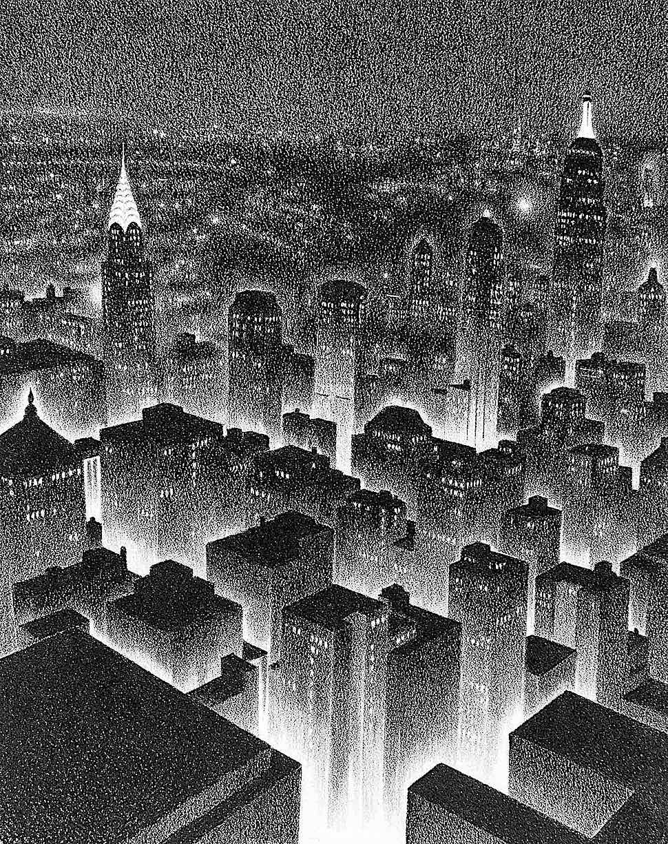 Ellison Hoover, a city at night from a birdseye view