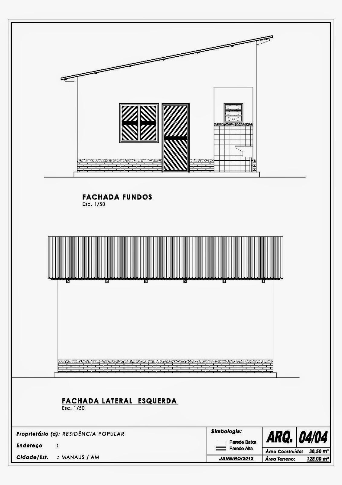 Fachadas dos fundos e Lateral esquerda