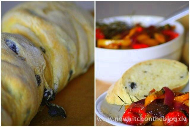 Selbstgemachtes Olivenbaguette