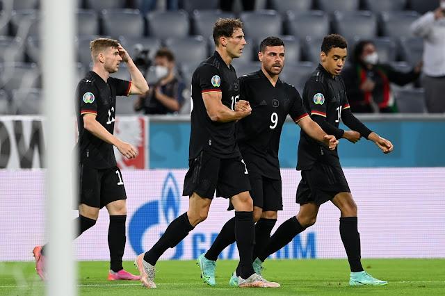 Goretzka, Werner, Volland, Musiala celebrating germany equalizer vs Hungary - euro 2020