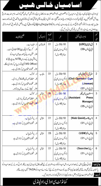 COD Rawalpindi Latest Jobs 2021