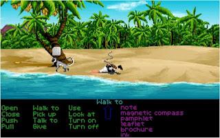 Guybrush aterrizando en Monkey Island