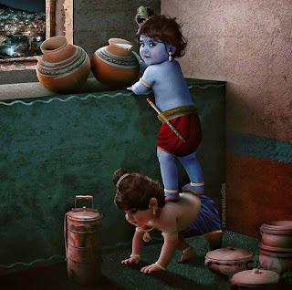 Lord Krishna Playing With Baldau Image