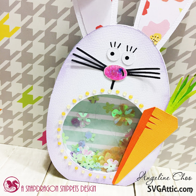 SVG Attic: Easter Bunny shaker card with Angeline #svgattic #scrappyscrappy #jgwbunnyrace #easter #card #cardmaking #papercraft #shakercard #nuvojeweldrop #glitter