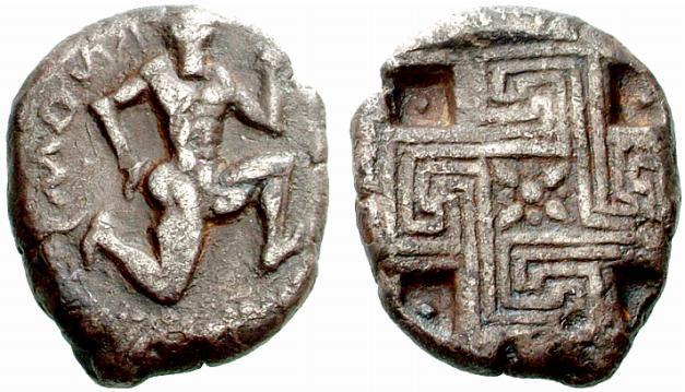 moneda de Cnosos con Minotauro y laberinto