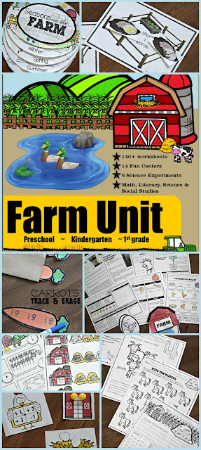 HUGE Kindergarten Farm Unit - 220+ printable worksheets, activities, games, readers, and more for kids to learn about the farm and alphabet, phonics, rhyming, word families, short vowels, sentences, reading comprehension, counting, writing numbers, number words, addition, subtraction, money, telling time, patterns, science experiments, life cycles, sequencing, seasons, plants, pumpkins, eggs, farm animals, and so much more!! HOLY SMOKES!! LOVE THIS!!! #farm #preschool #kindergarten #1stgrade