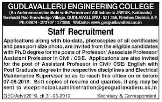 Gudlavalleru Engineering College Recruitment 2019 GEC Teaching and Non Teaching Staff Jobs Notification