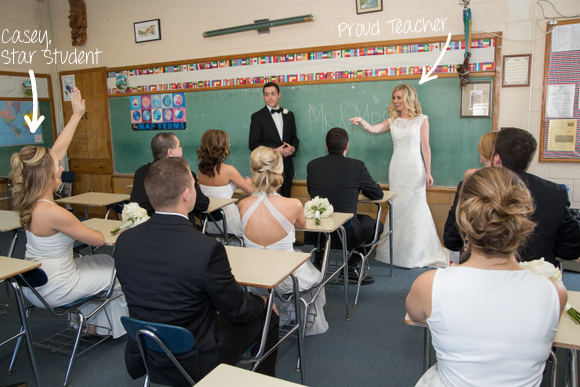 wedding pictures in a school