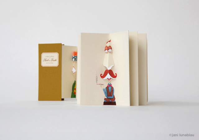 Pop-up book by Jani Lunablau.  First edition of 50 numbered and signed copies, handbound. Available on ETSY.