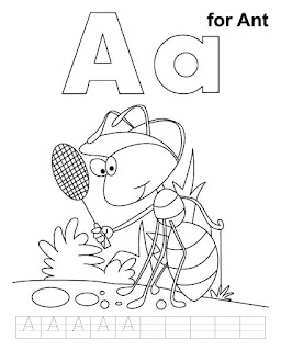 Lets Says AAAAAAA For Ant Coloring Pages Print With Simple Handwriting Practice