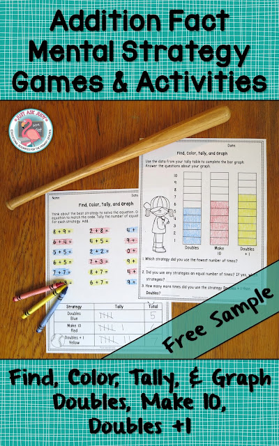 This free sample, Find, Color, Tally, & Graph, is a great way for first and second grade students to discriminate between the Doubles, Make 10, and Doubles + 1 addition fact strategies.