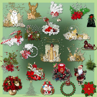 Christmas greeting card decor elements png
