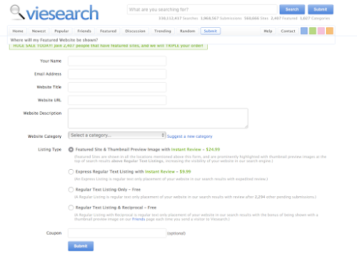 Add Url to Viesearch