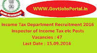 Income Tax Department Recruitment 2016 for 47 Various Posts Apply Online Here