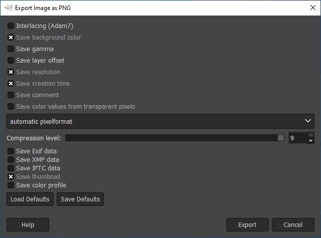 Сохранение изображения в PNG в редакторе GIMP