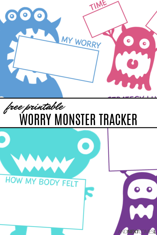 Free printable worry monster tracking sheet for kids {coping with anxiety worksheets for kids}