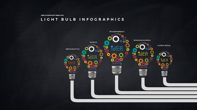 Infographic Free PowerPoint Templates with Light Bulb and Gear Diagrams in Dark Background