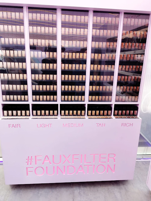 THE HUDA BEATY FAUX FILTER FOUNDATION STAND AT THE HUDA BEAUTY POP UP EVENT IN LONDON'S COVENT GARDEN