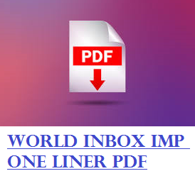 World Inbox Academy IMP One Liner Questions In Gujarati