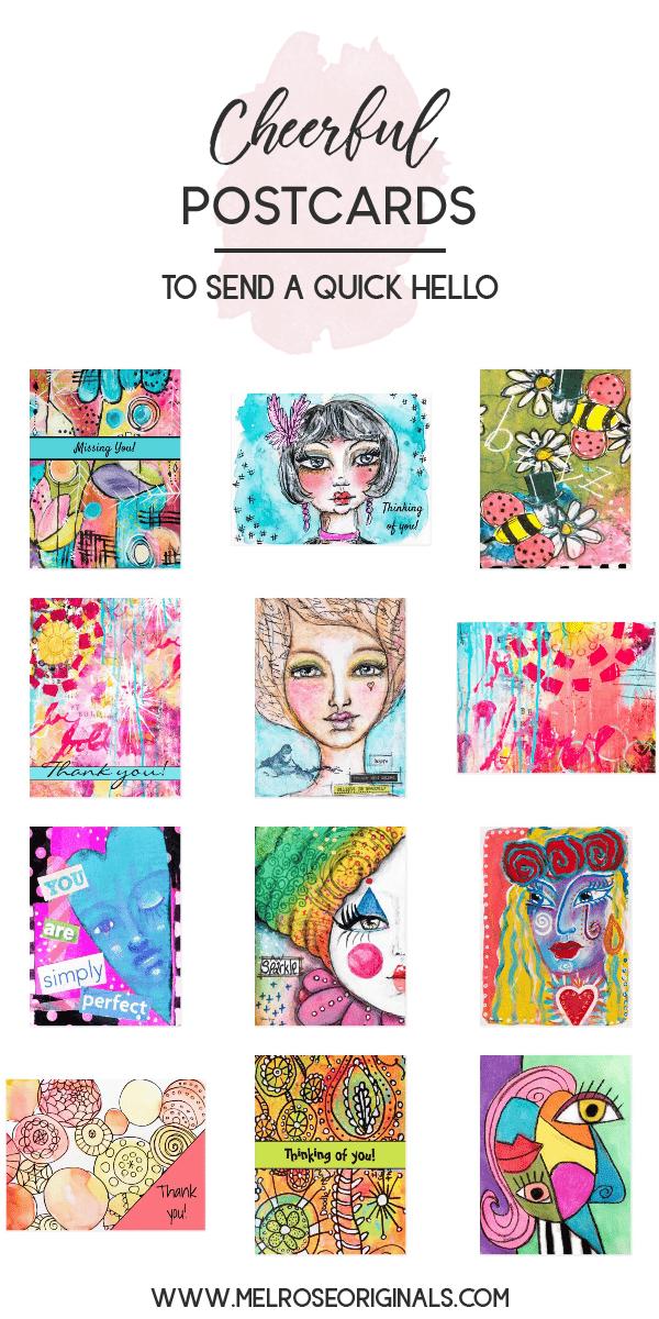 assorted whimsical art postcards from melrose originals