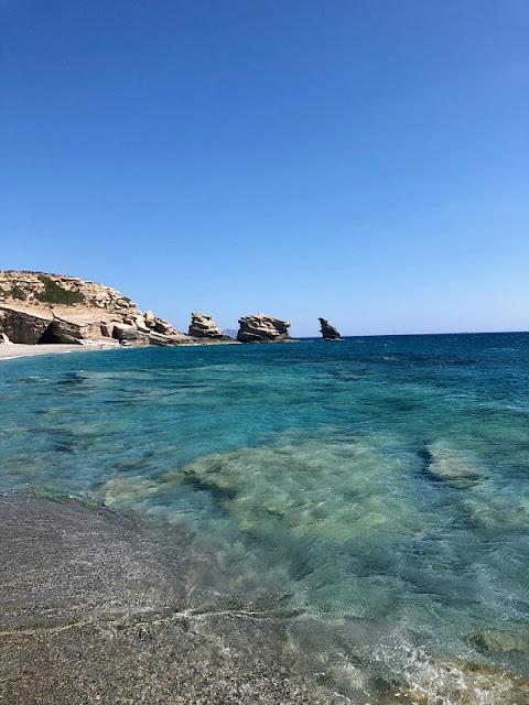 Blick auf die Felsen von Triopetra an der Südküste Kretas