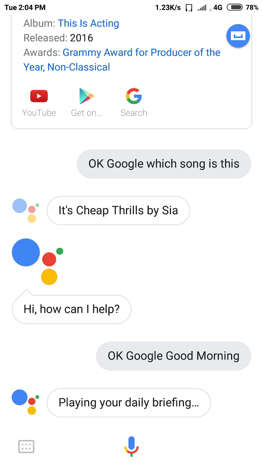 If you want to see the summary of the day by Google Assistance