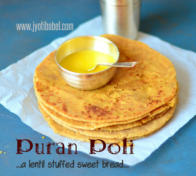 Puran Poli is a lentil stuffed sweet bread from the state of Maharashtra. Chana Dal, flour, jaggery, cardamom and ghee are the main ingredients in this puran poli recipe.