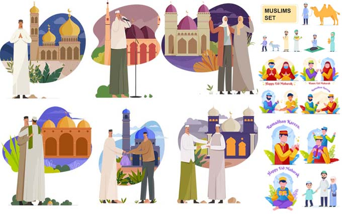 Muslim male and female vector characters