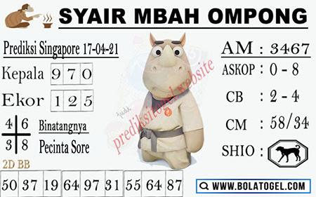 Syair Mbah Ompong SGP Sabtu 17-Apr-2021