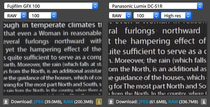 Детализация Fujifilm GFX 100 и Panasonic Lumix S1R в режиме высокого разрешения