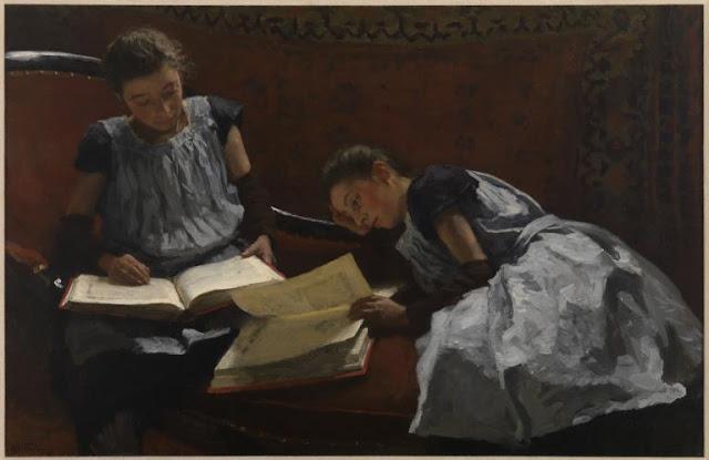 Obra de arte siglo XIX, pintor Bastiaan Tholen. Jovenes estudiando en casa.