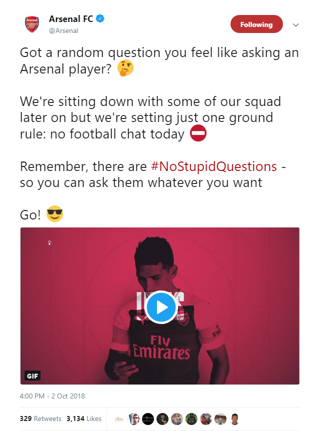Arsenal's Twitter Q&A descends into chaos
