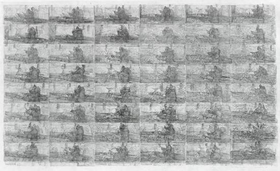 Ciprian Muresan Andrei Rublev by Tarkovsky, sec. 21-30, 2017 Pencil on paper 97 x 156 cm